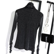 Kisaldy New Women's Bright Silk Top 2020 Fall Turtle Neck Long Sleeve Bottom Shirt Sexy Mesh Transparent Shining Fitness Shirts