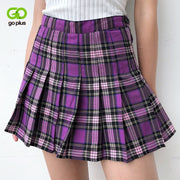 Women's Skirts Korean Style High Waist Plus Size Harajuku A-line Pleated Plaid Mini Woman Skirts Mujer Faldas Mujer Moda 2020