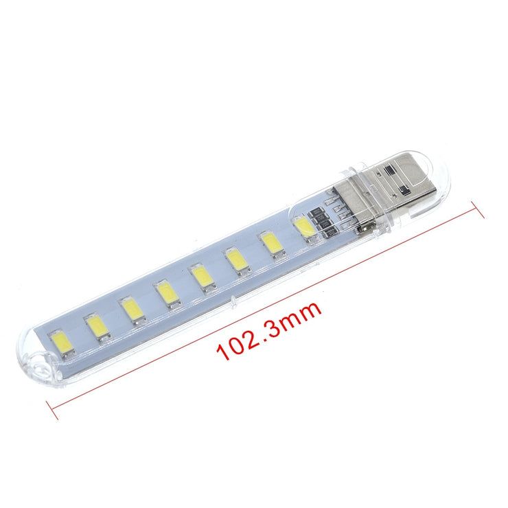 TZT Mini Protable USB Night light 8leds 5730 SMD Book lights 5V For PC Laptops Computer Mobile Power Camping lamp  white color