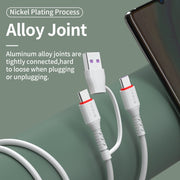 GENAI 2 In 1 USB C to USB Type C Cable for Macbook Pro iPad PD 60W Cable for Samsung Huawei Xiaomi Quick Charge USB-C Cables