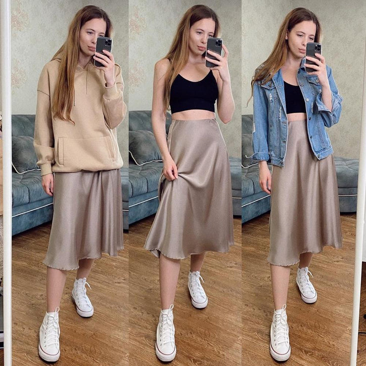 Women's Skirt Korean Style A-line Satin Blue Black High Waist Ankle Length Woman Skirts Mujer faldas Femme Jupes Saias Mulher