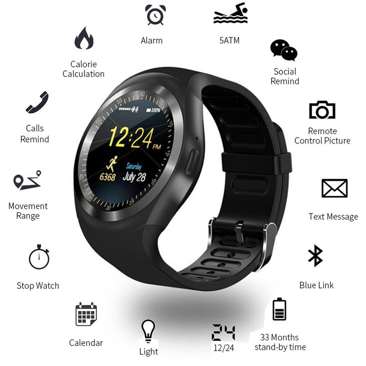 New Color Screen Waterproof Y1 Smart Watch Heart Rate Monitor Phone Call GSM Sim Remote Information Display Sport Pedometer