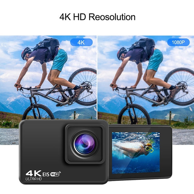 New New UHD WiFi EIS Action Camera with Chip 4K/60Fps EIS Underwater 30M Helmet Video Recording Cameras Sport Cam