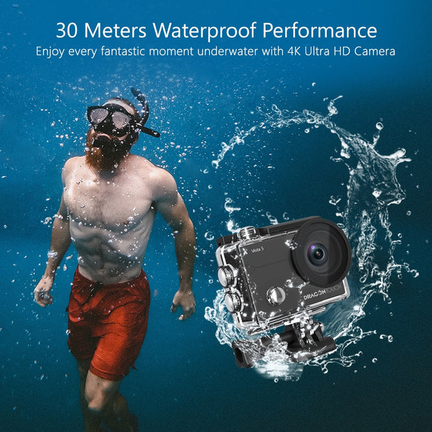 Dragon Touch Vista 5 4K 16MP Action Camera 170°Wide Angle WiFi EIS Touch Screen Waterproof Helmet Sport Camera with Extra Mic