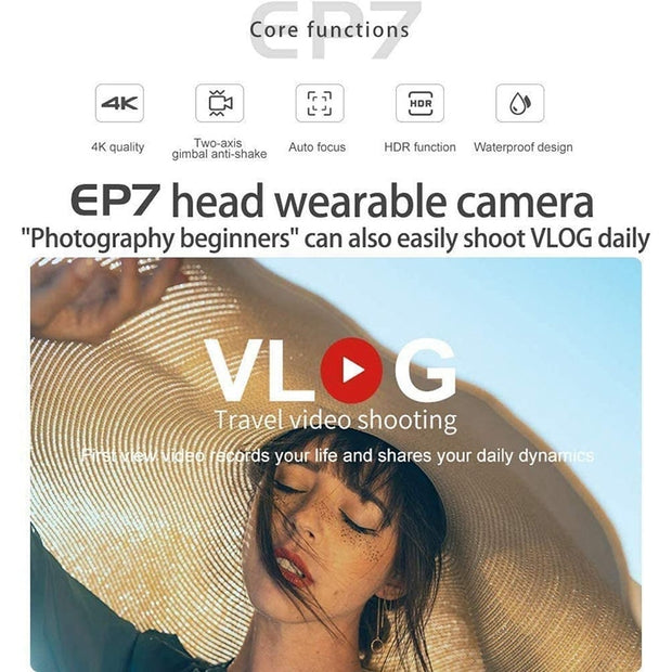 ORDRO EP7 4K Camcorder Head Wearable Video Camera 60Fps APP Control with 64G Micro-SD Card, Remote Control,Carrying Case