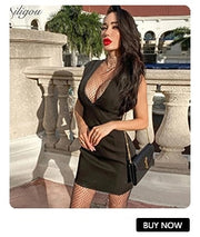 Ailigou 2020 New Bandage Open Back Tassel Rhinestone High Neck Tight Mini Sexy Celebrity Party Dress Vestidos