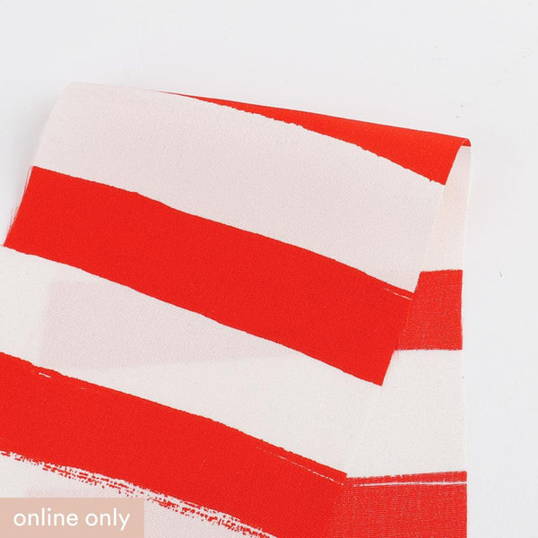 Big Top Stripe Silk Crepe De Chine - Red - Buy online at The Fabric Store ?id=16580550164561