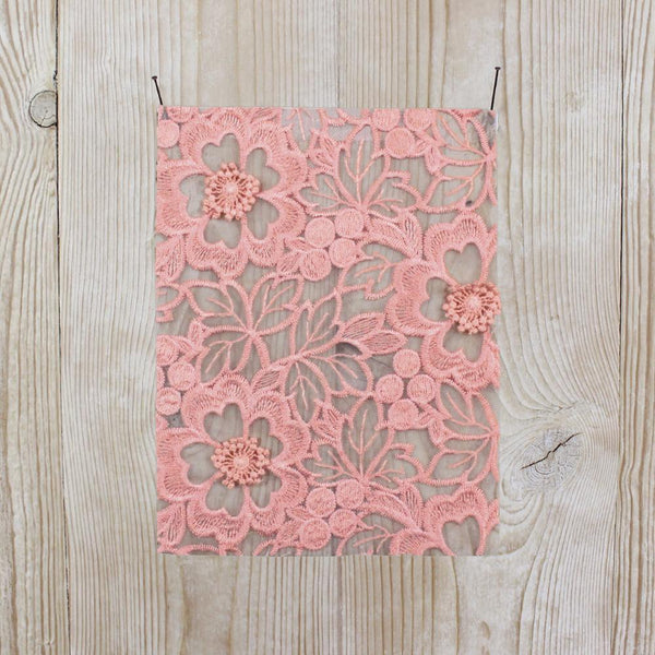 Floral Embroidered Organza - Peach - buy online at The Fabric Store