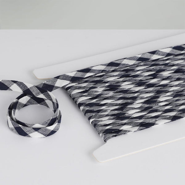 Gingham Linen Bias Binding - Navy