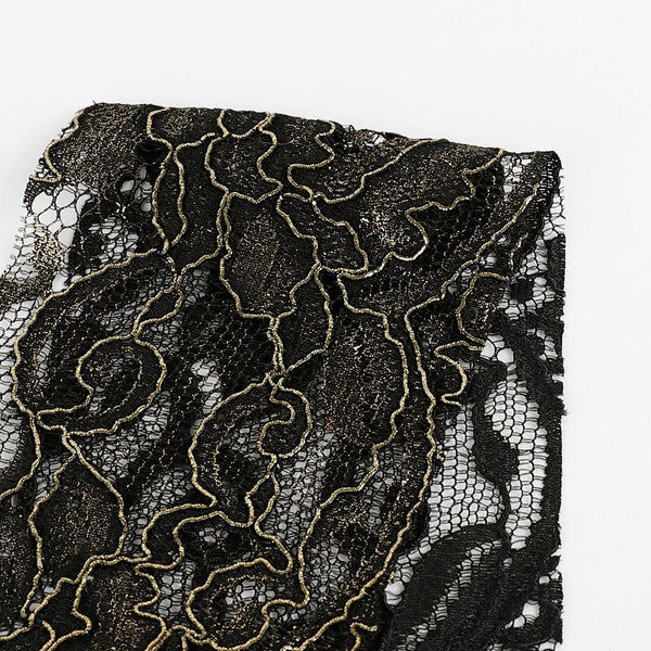 Gold Foil Lace - Black - buy online at The Fabric Store