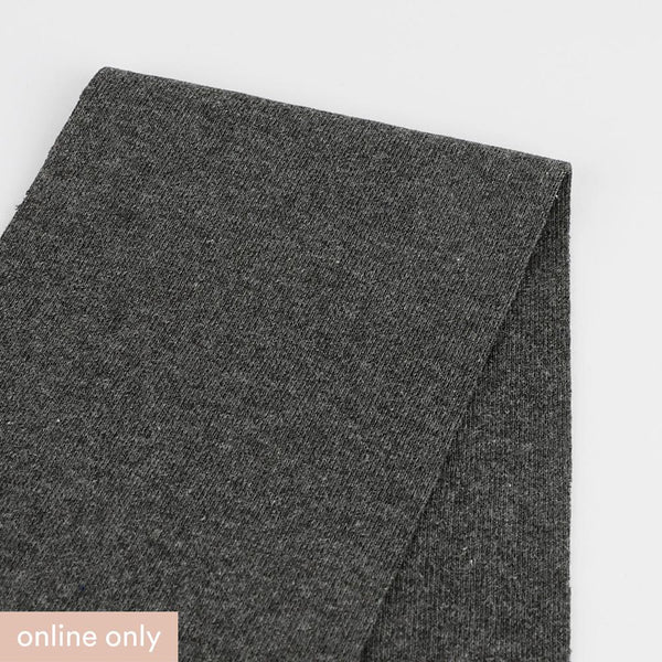 Heavyweight Stretch Cotton 1x1 Rib - Gunmetal - Buy online at The Fabric Store