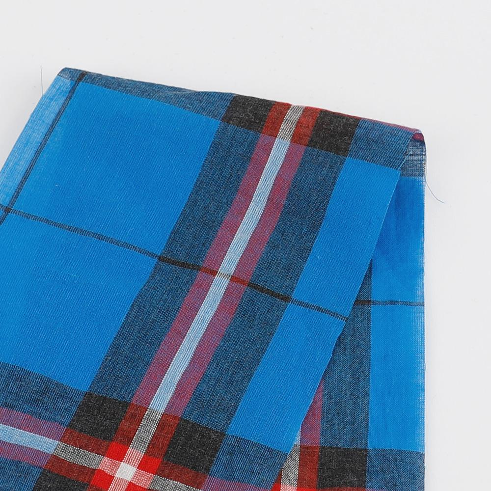 Japanese Check Shirting - Azure / Red - buy online at The Fabric Store