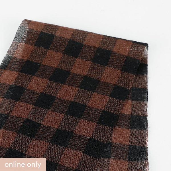Japanese Gingham Wool / Cotton Gauze - Brown ?id=27955059851345