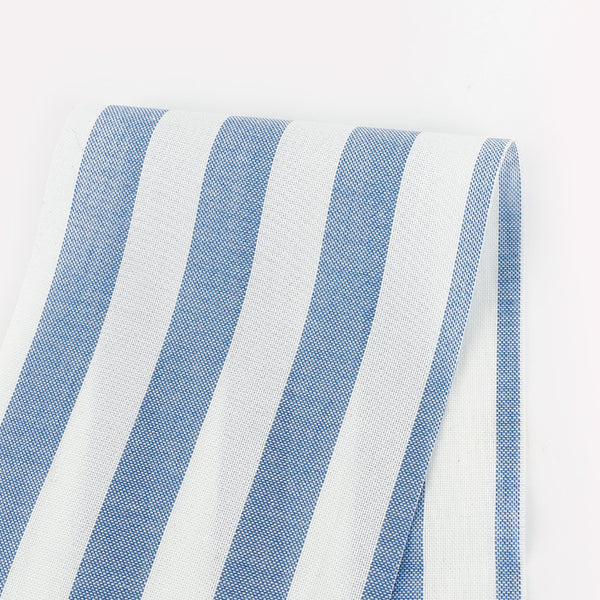 Lightweight Striped Cotton Oxford - Blue