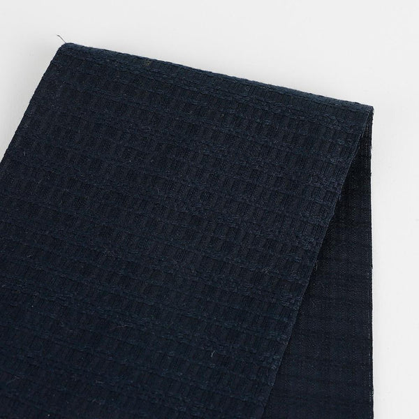 Mini Texture Check Cotton - Navy - buy online at The Fabric Store