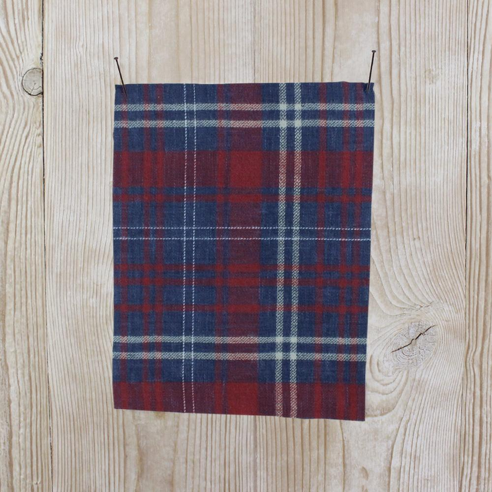 Brushed Cotton Plaid - Denim / Red - buy online at The Fabric Store ?id=11869122166865