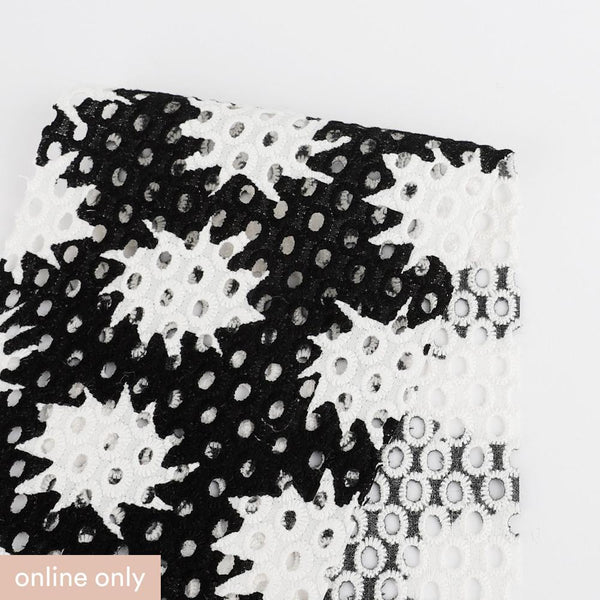 Starry Print Cotton Broderie Anglaise - Black