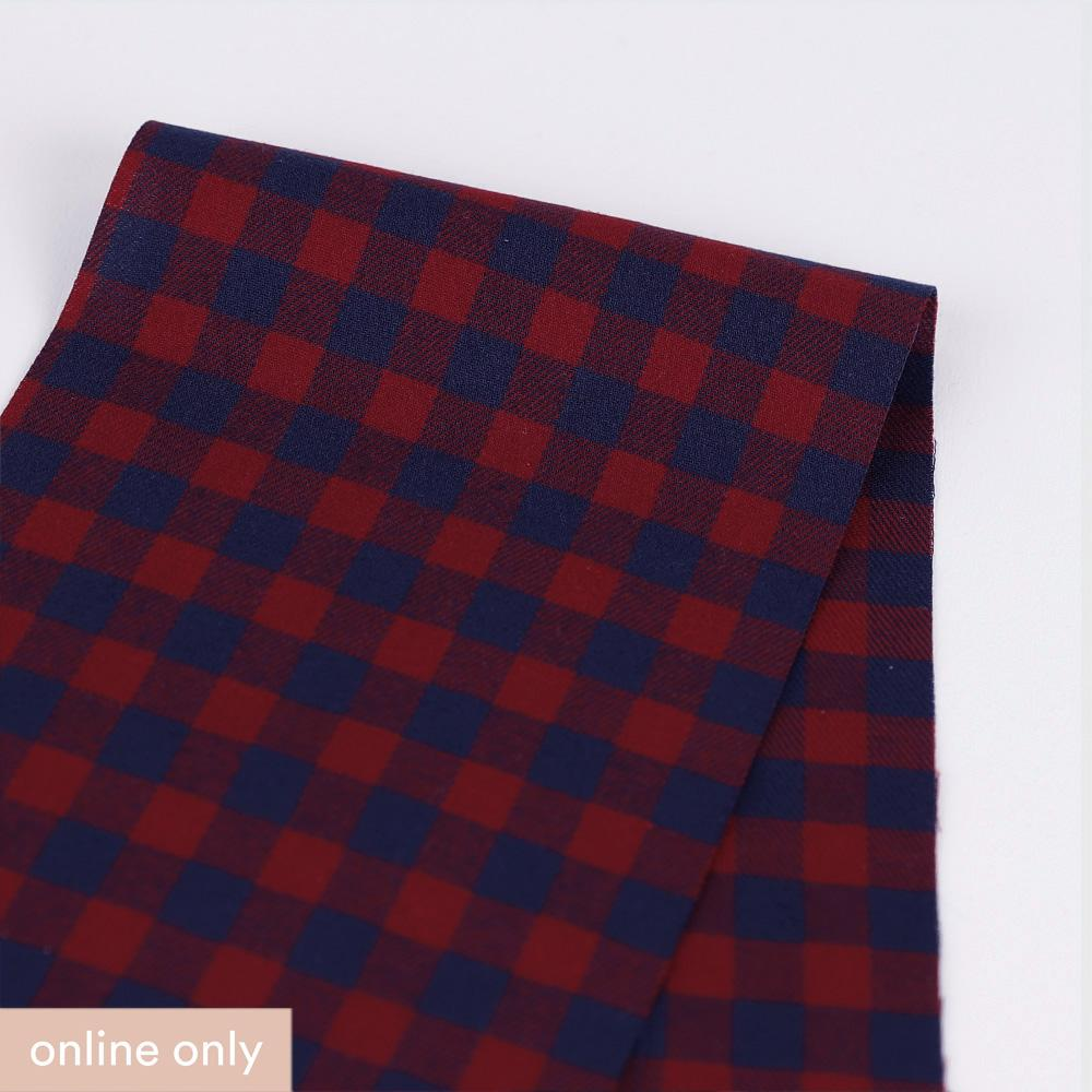 Twill Gingham Cotton - Marine / Red