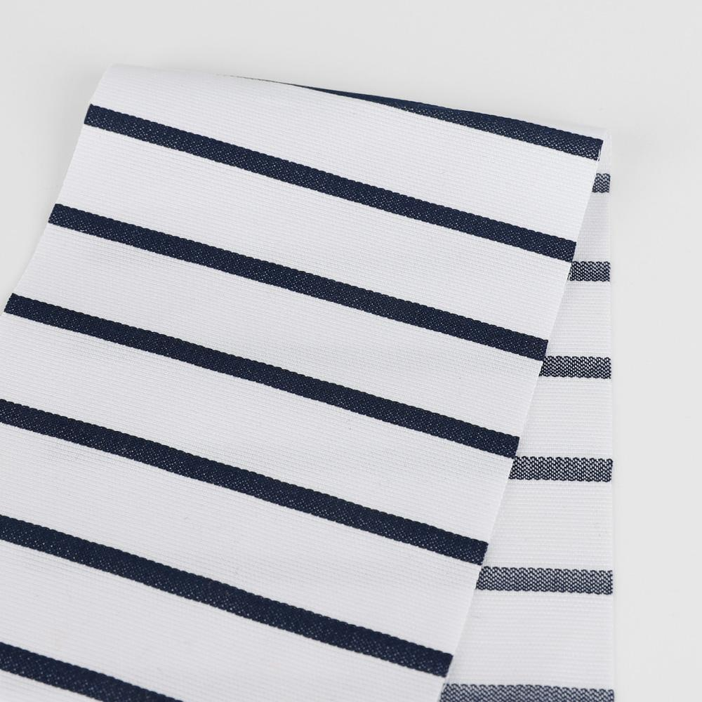 Weft Stripe Cotton Canvas - White / Navy ?id=15691450253393