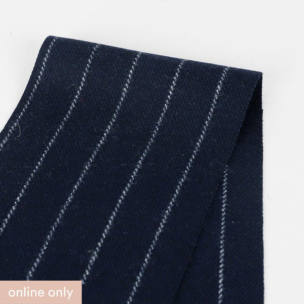 Japanese Wool Blend Pinstripe Suiting - Midnight ?id=27955050217553