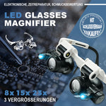 Lade das Bild in den Galerie-Viewer, LED Glasses Magnifier™ Pro - Glaslupe mit optischer Linse