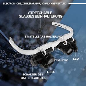 LED Glasses Magnifier™ Pro - Glaslupe mit optischer Linse