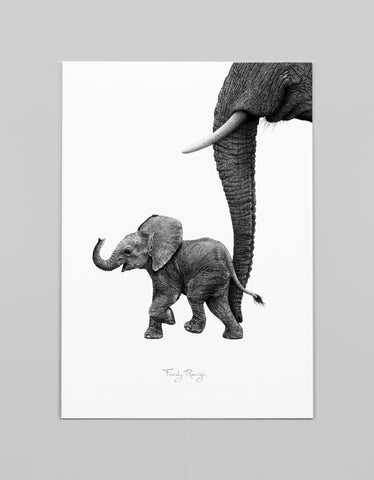 A3 Art Print 'Afrikaans Baby Olifantje'