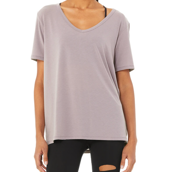 Alo Motion Short Sleeve Lavender Smoke