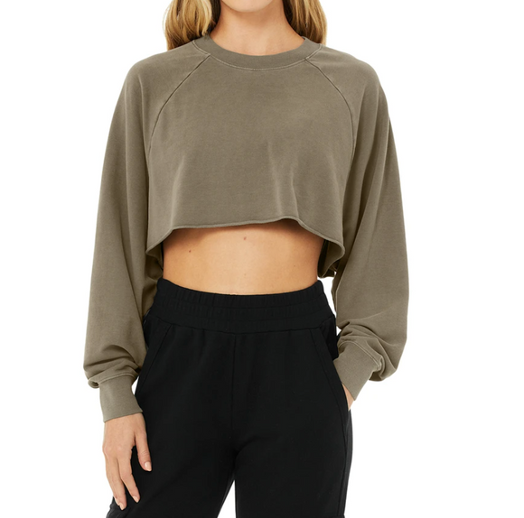 Alo Double Take Pullover Olive Branch