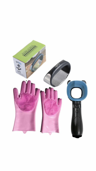 Garlic press with pair of pink silicone magic scrubber gloves and a free Portable bladeless fan bundle