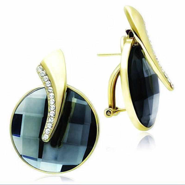 Black Diamond Brass,IP Gold (Ion Plating) Synthetic Glass Earrings-earrings,uniqqy