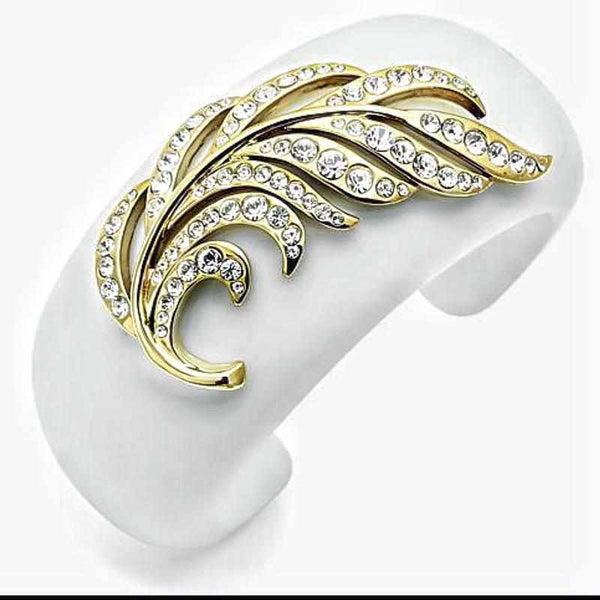 Synthetic Brass,IP Gold (Ion Plating) White Stone Bangle,-braceletuniqqy