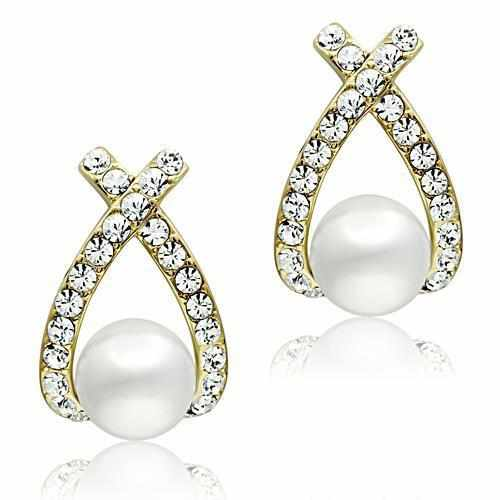Synthetic White Pearl Brass IP Gold (Ion Plating) Earrings-earringsuniqqy