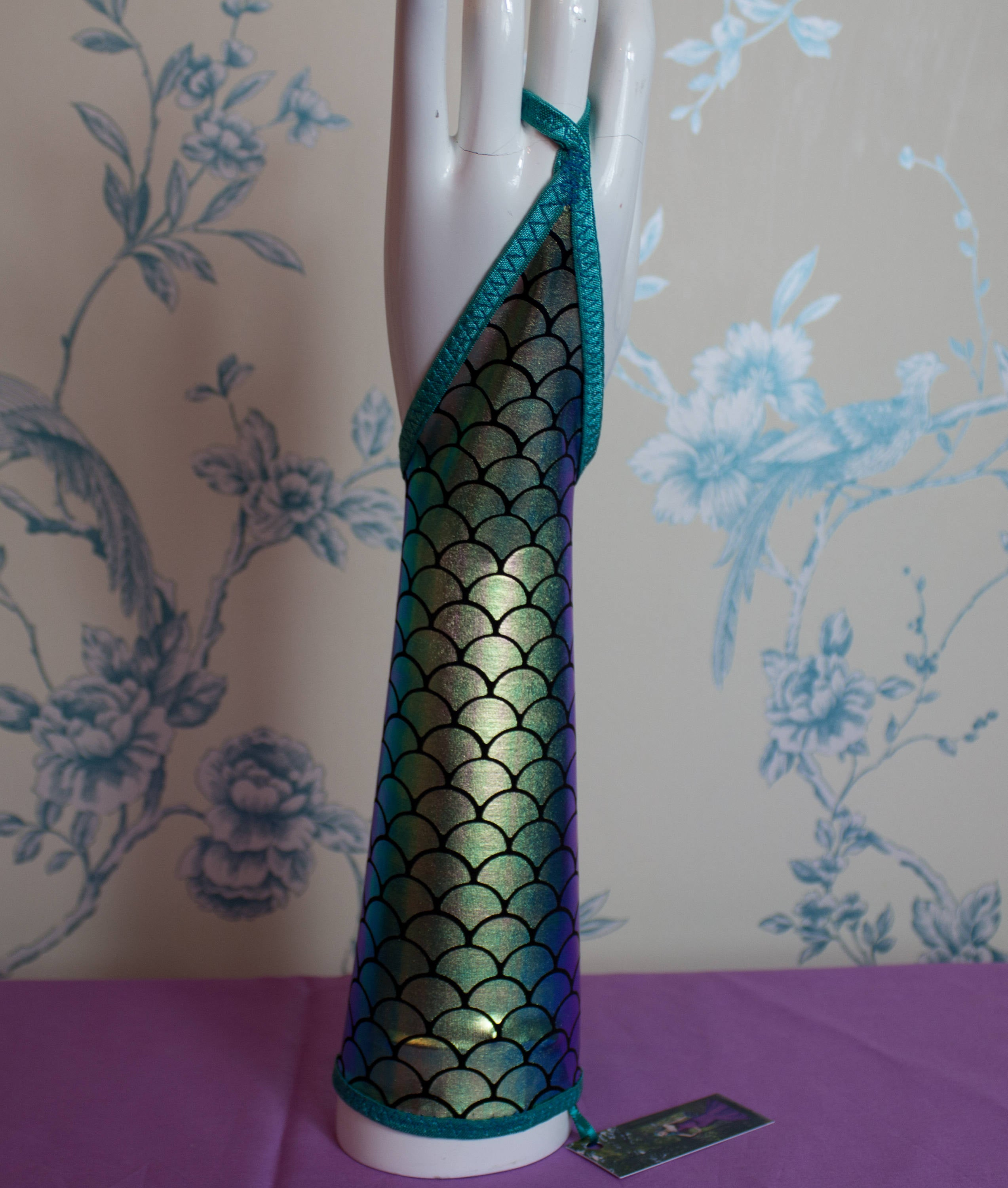 Glovelettes in shiny mermaid fabrics, perfect Stagewear for any Showgirl, Burlesque artist , Pole dancer or Aerial performer