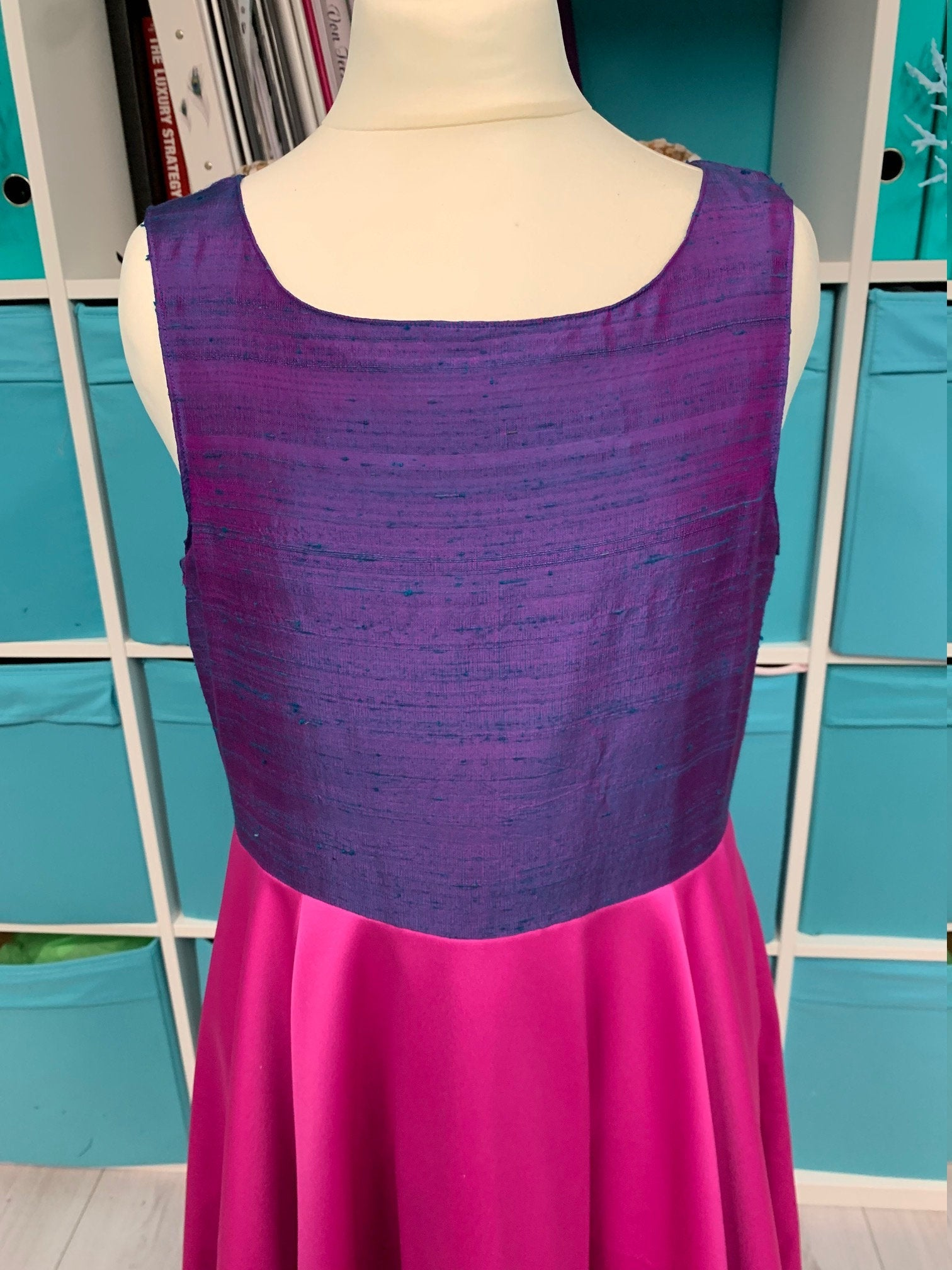 Purple and Pink silk and satin teen dress