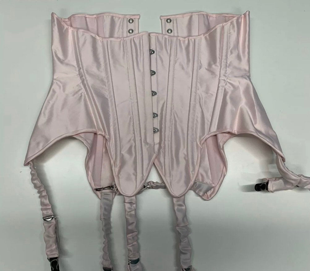 Pink satin suspender corset, fully steel boned and ready to ship