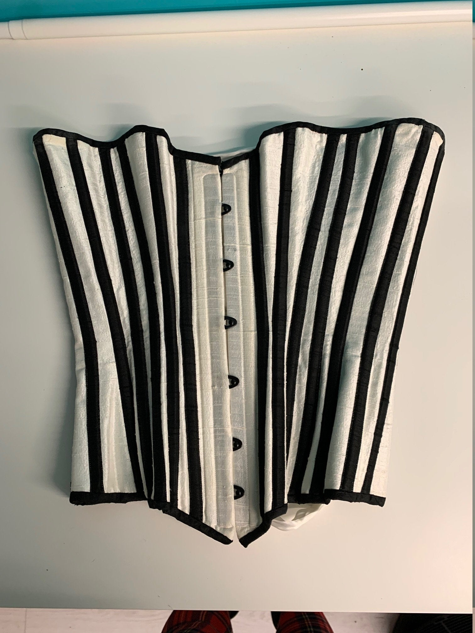 Black and Ivory Stripe Silk Corset