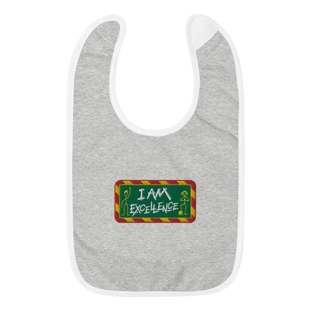 I Am Excellence Embroidered Baby Bib