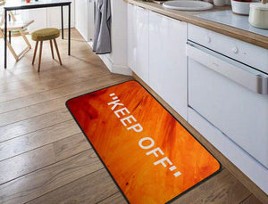 """KEEP OFF"" Orange Floor Mat"