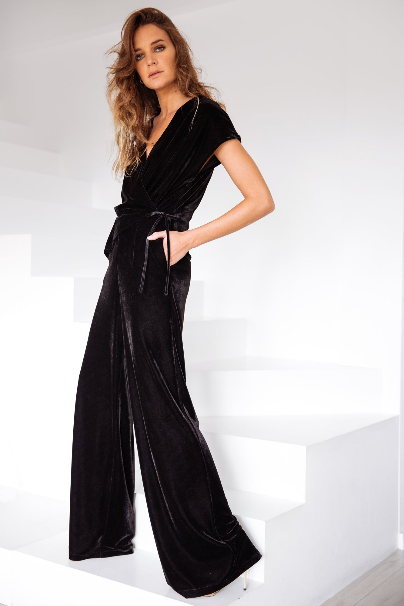 Crossed Jumpsuit Black Velvet