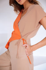 Crossed Jumpsuit Camel