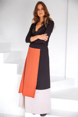 Color Block Long skirt Black