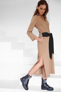 Long Jersey Dress Camel