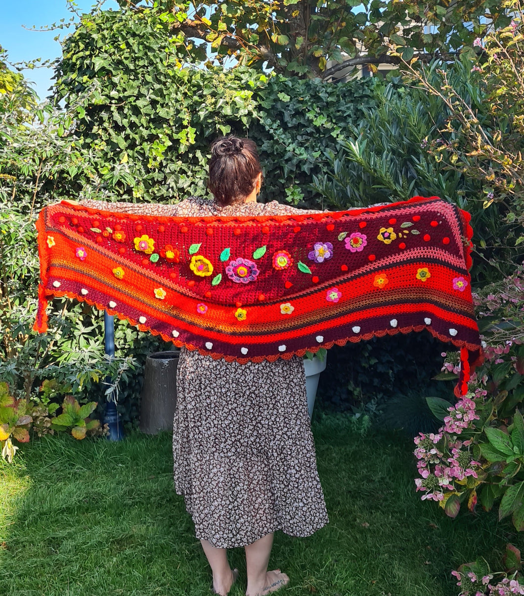 red crochet shawl