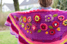 Afbeelding in Gallery-weergave laden, Crochet shawl polleviewrap for sale alpaca mohair silk purple nr23