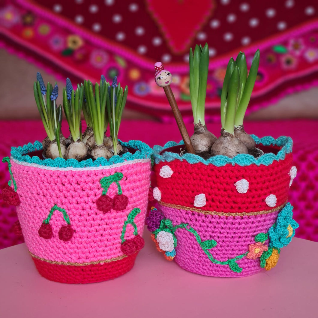 Crochet kit Flowerpot PINK/RED US/ UK  terms