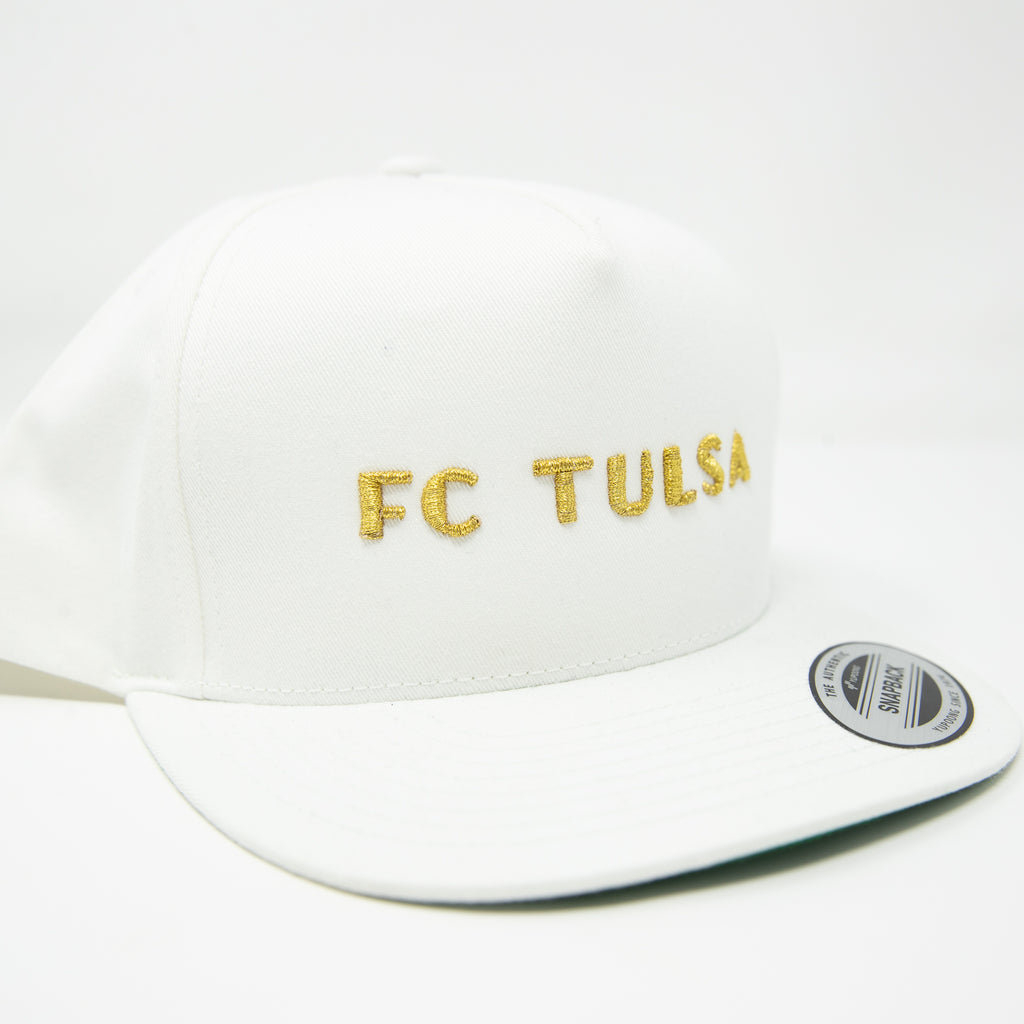 FC Tulsa Flat Bill Snapback Cap- White - Embroidered FC Tulsa