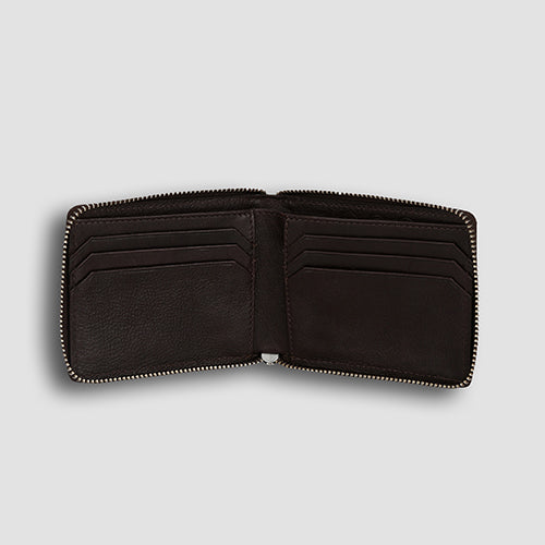 Lizard Zipper Bi-fold Tan
