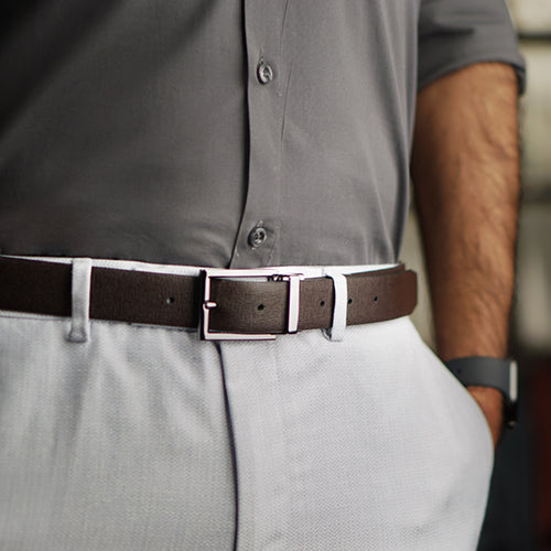 Saffiano Reversible Belt Brown + Grey