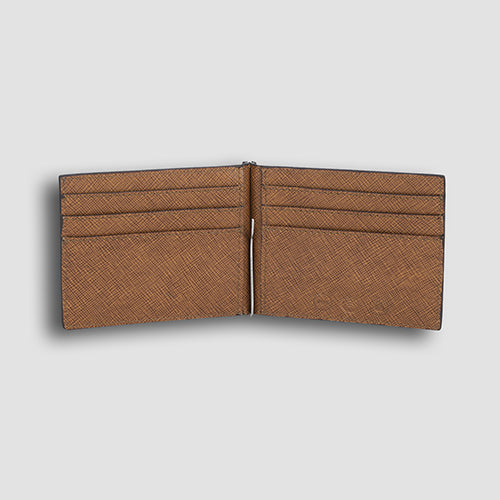 Saffiano Money Clip Tan